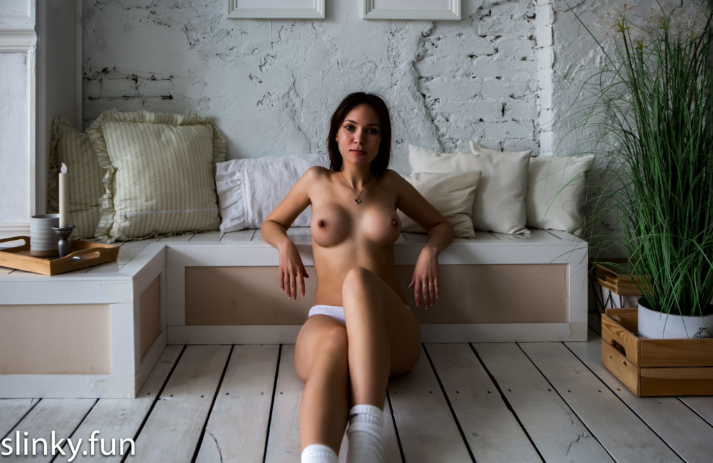 Nude Young virgin alone at home