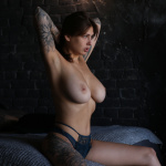 Playboy model nude Zhenya in a photo studio-24